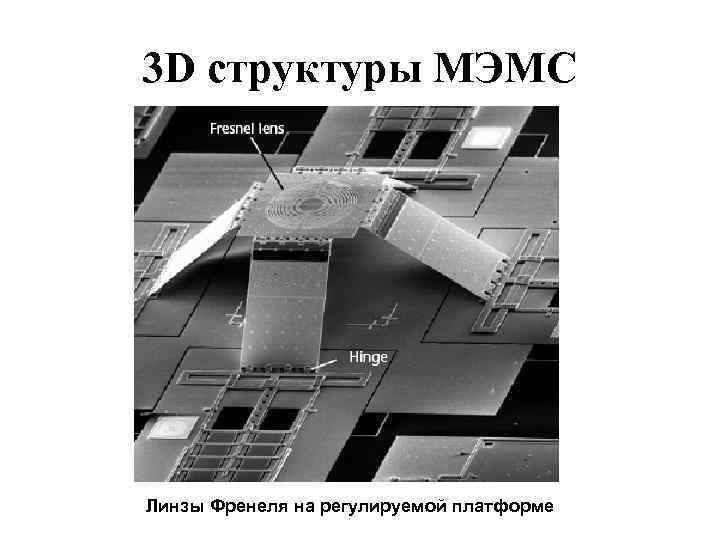 3 D структуры МЭМС Линзы Френеля на регулируемой платформе