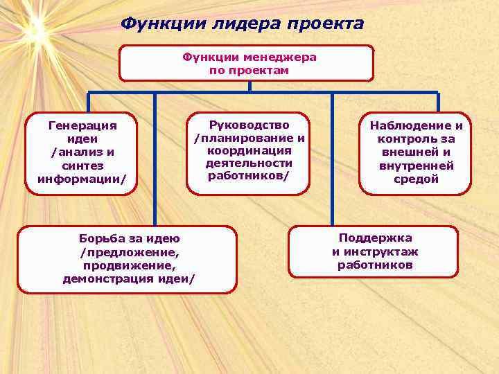 Функции лидера проекта    Функции менеджера
