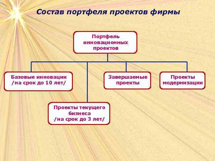 Состав портфеля проектов фирмы     Портфель