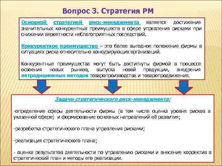 Вопрос 3. Стратегия РМ  Основной стратегией риск-менеджмента является достижение