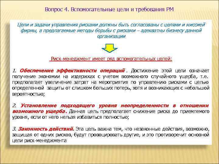 Вопрос 4. Вспомогательные цели и требования РМ  Цели и задачи