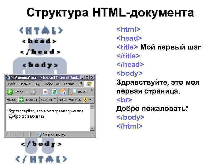Структура HTML-документа   <html>   <head>   <title> Мой первый шаг