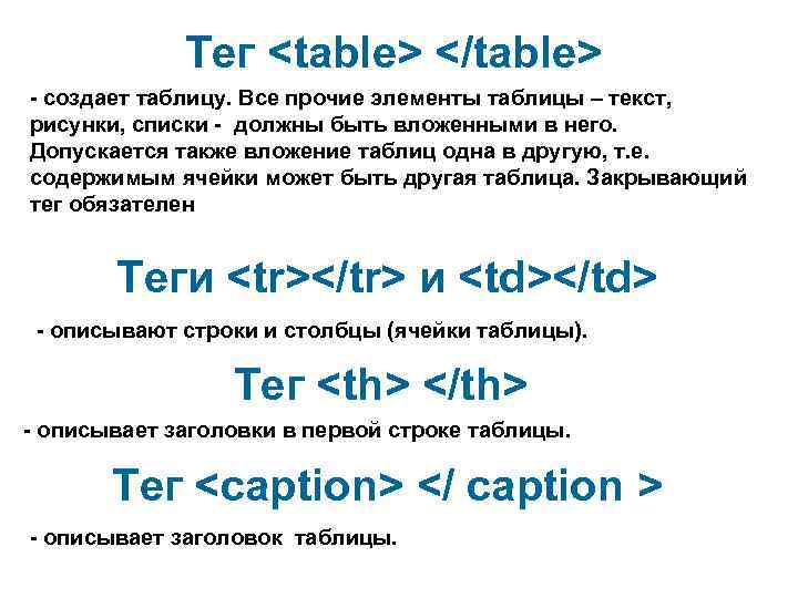 Тег <table> </table> - создает таблицу. Все прочие элементы таблицы –