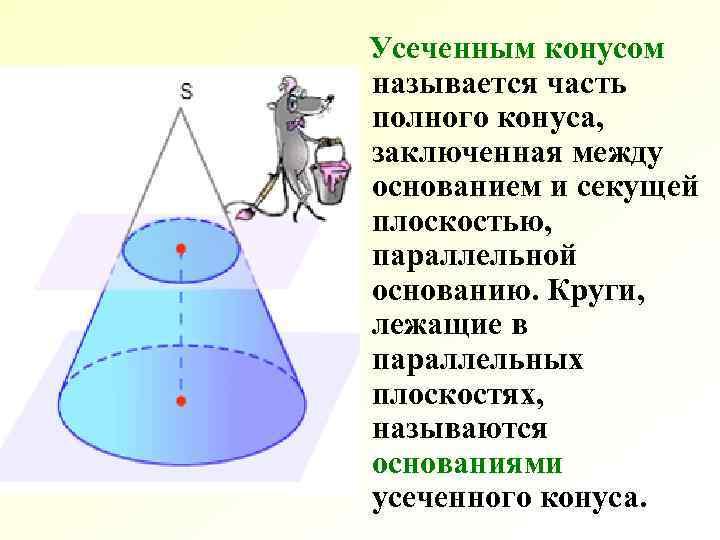 Усеченным конусом называется часть полного конуса, заключенная между основанием и секущей плоскостью, параллельной основанию.