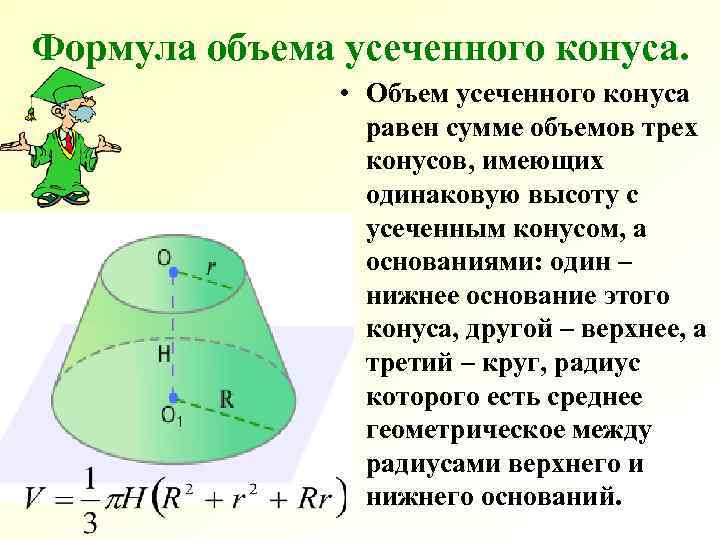 Формула объема усеченного конуса.   • Объем усеченного конуса   равен сумме