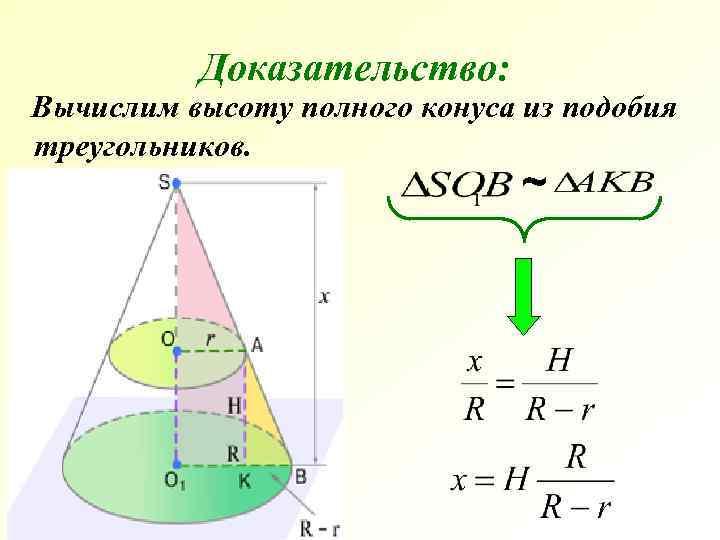 Доказательство: Вычислим высоту полного конуса из подобия треугольников.
