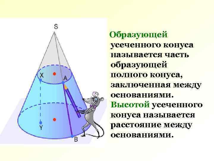 Образующей усеченного конуса называется часть образующей полного конуса, заключенная между основаниями. Высотой усеченного конуса