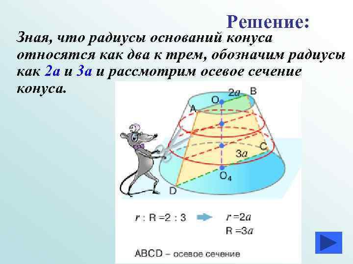 Решение: Зная, что радиусы оснований конуса относятся как