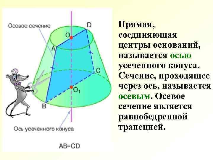 Прямая, соединяющая центры оснований, называется осью усеченного конуса. Сечение, проходящее через ось, называется осевым.