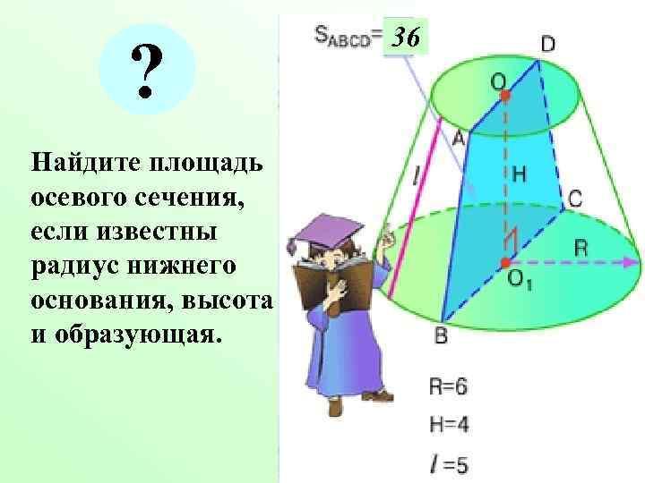 36  ? Найдите площадь осевого сечения, если известны радиус