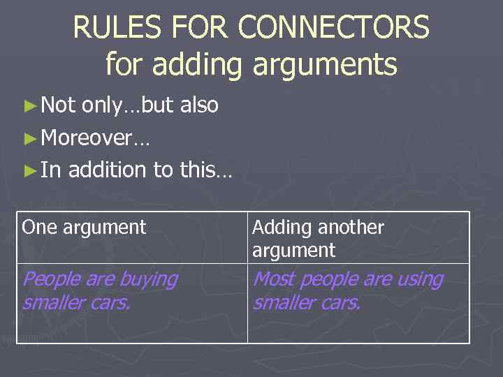 RULES FOR CONNECTORS  for adding arguments ► Not only…but also ► Moreover…