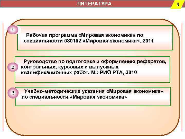 ЛИТЕРАТУРА     3 1 Рабочая программа «Мировая