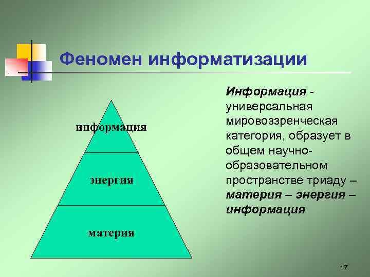 Феномен информатизации    Информация -    универсальная информация  мировоззренческая