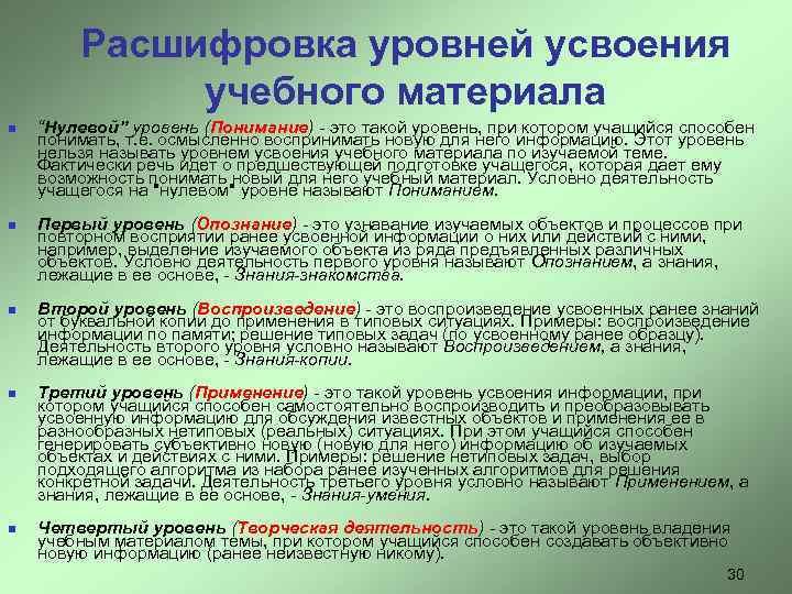 """Расшифровка уровней усвоения   учебного материала n  """"Нулевой"""" уровень (Понимание)"""
