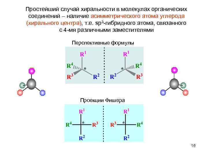 Простейший случай хиральности в молекулах органических  соединений – наличие асимметрического атома углерода (хирального