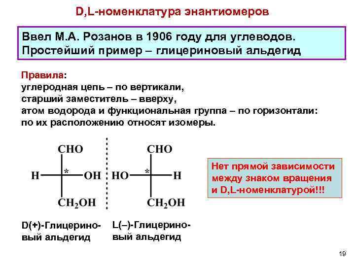 D, L-номенклатура энантиомеров Ввел М. А. Розанов в 1906 году для