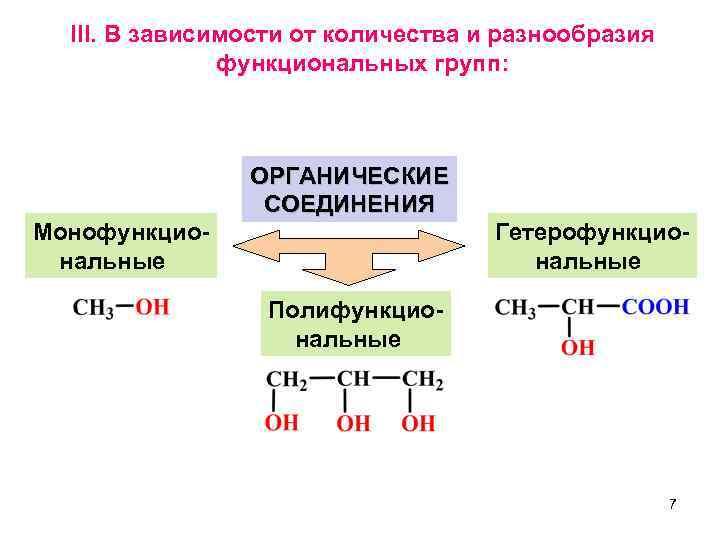 III. В зависимости от количества и разнообразия    функциональных групп: