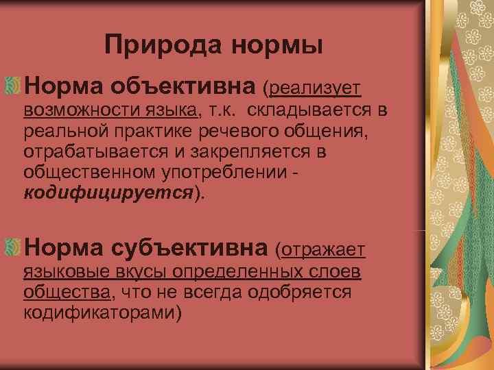 Природа нормы Норма объективна (реализует возможности языка, т. к. складывается в реальной