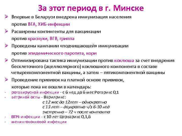 За этот период в г. Минске Ø Впервые в Беларуси внедрена
