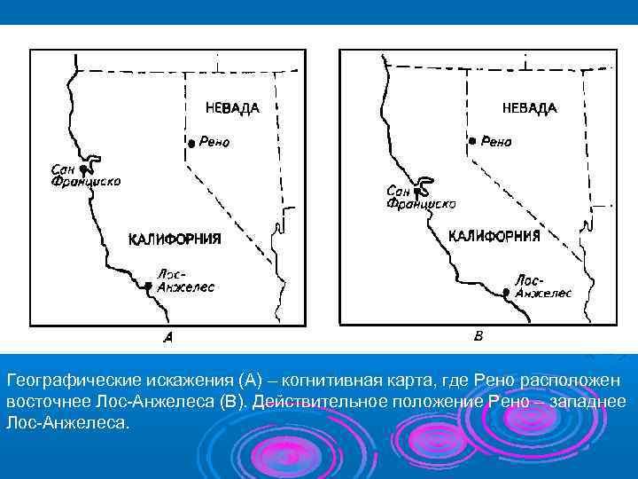 Географические искажения (А) – когнитивная карта, где Рено расположен восточнее Лос-Анжелеса (В). Действительное положение