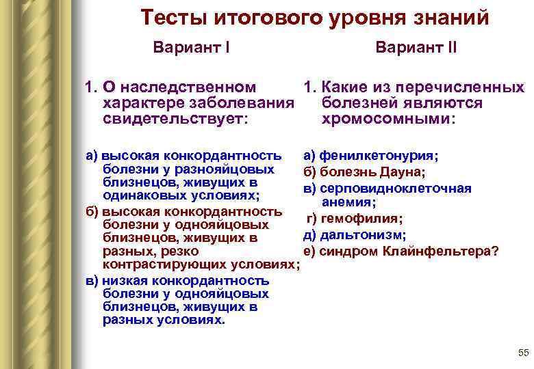Тесты итогового уровня знаний   Вариант II 1. О наследственном 1.
