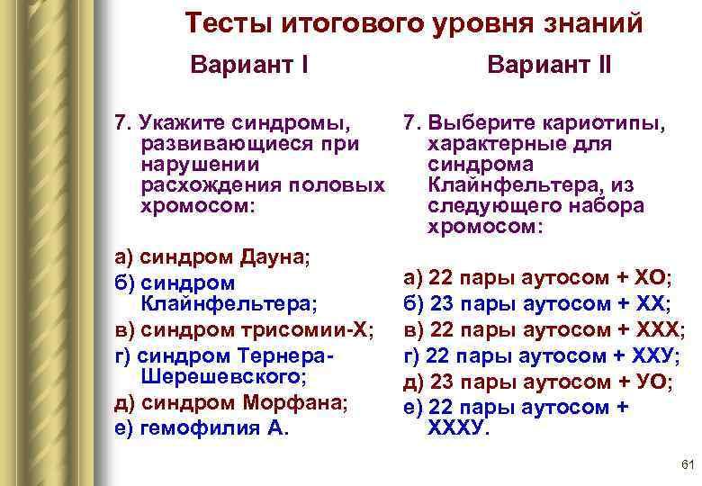 Тесты итогового уровня знаний  Вариант I    Вариант II 7.
