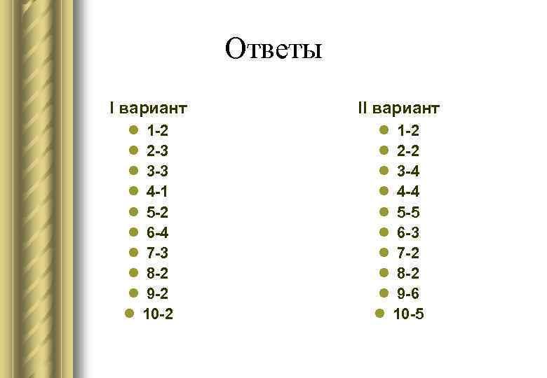 Ответы I вариант  II вариант l 1 -2