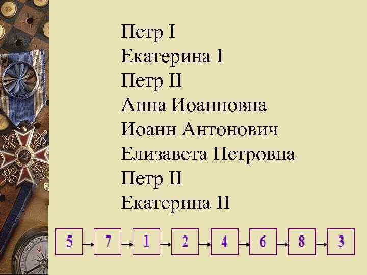 Петр I Екатерина I Петр II Анна Иоанновна Иоанн Антонович Елизавета Петровна Петр II