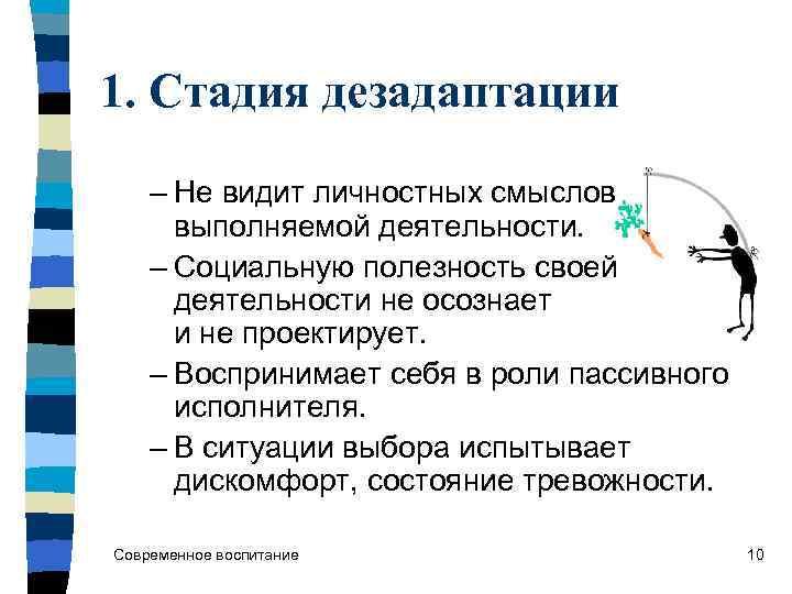 1. Стадия дезадаптации – Не видит личностных смыслов  выполняемой деятельности. – Социальную полезность