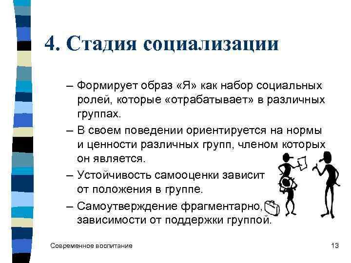 4. Стадия социализации – Формирует образ «Я» как набор социальных  ролей, которые «отрабатывает»
