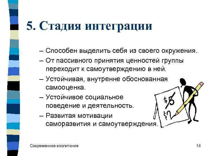 5. Стадия интеграции – Способен выделить себя из своего окружения. – От пассивного принятия