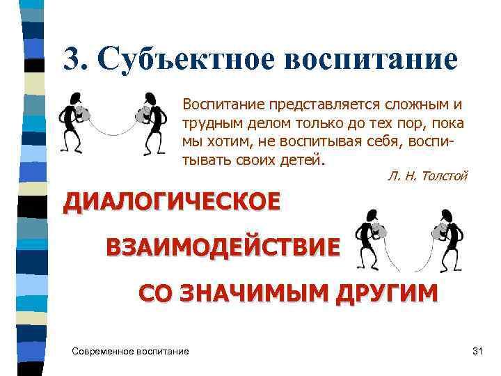 3. Субъектное воспитание     Воспитание представляется сложным и