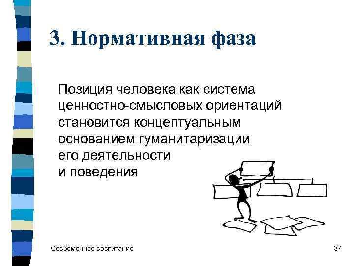 3. Нормативная фаза  Позиция человека как система  ценностно-смысловых ориентаций  становится концептуальным