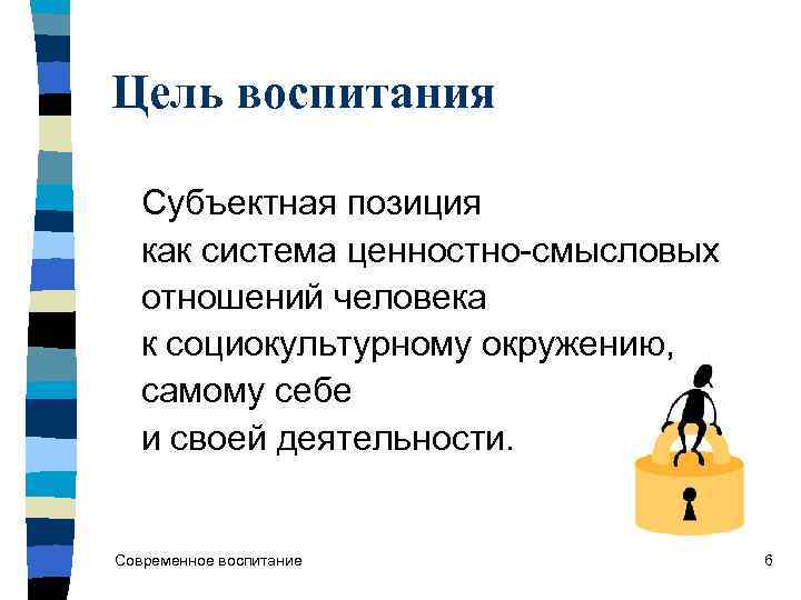 Цель воспитания Субъектная позиция как система ценностно-смысловых отношений человека к социокультурному окружению, самому себе
