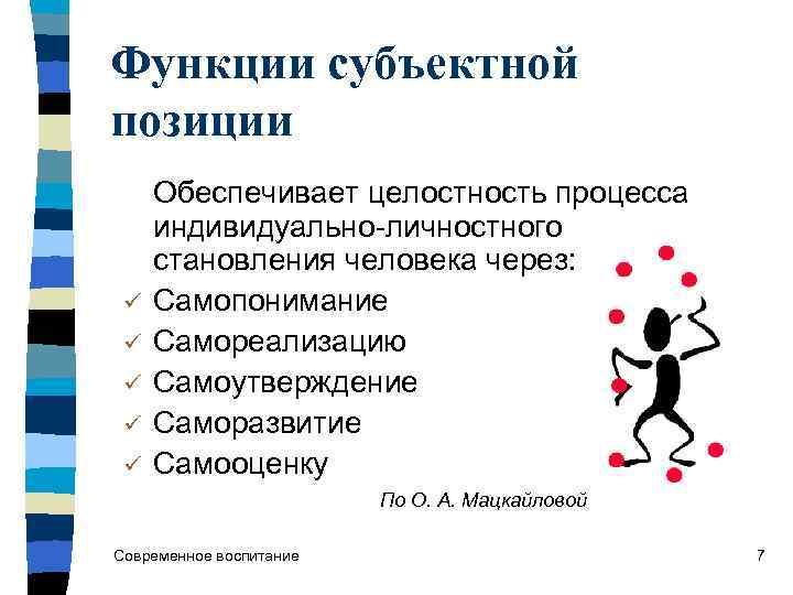 Функции субъектной позиции Обеспечивает целостность процесса  индивидуально-личностного  становления человека через:  ü