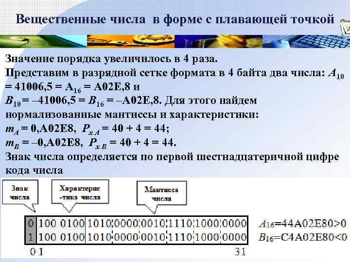 Вещественные числа в форме с плавающей точкой Значение порядка увеличилось в 4 раза.