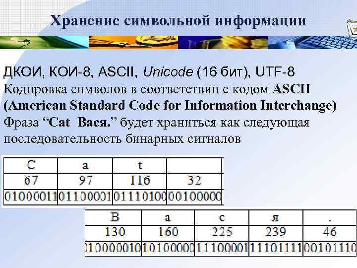 Хранение символьной информации  ДКОИ, КОИ-8, ASCII, Unicode (16 бит), UTF-8 Кодировка