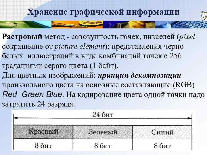 Хранение графической информации Растровый метод  совокупность точек, пикселей (pixel – сокращение от