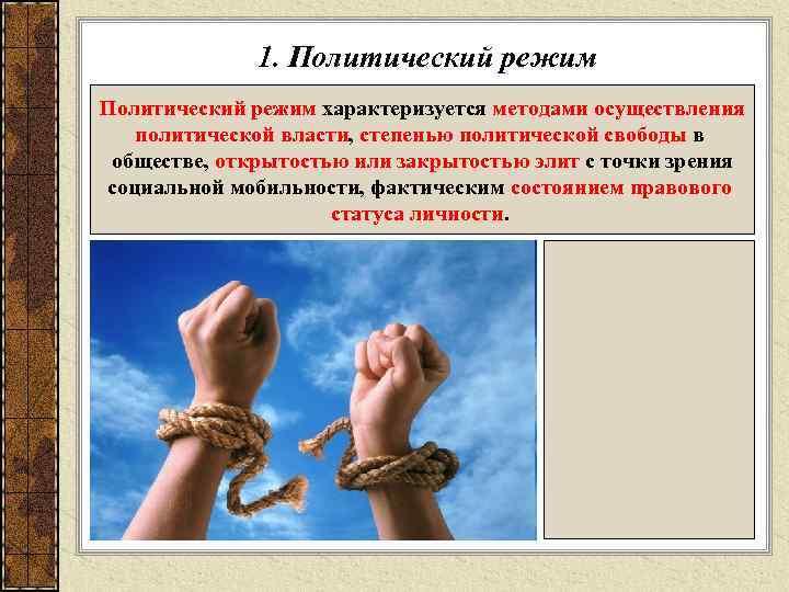 1. Политический режим характеризуется методами осуществления  политической власти, степенью политической