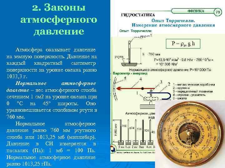 2. Законы атмосферного  давление Атмосфера оказывает давление на земную поверхность. Давление