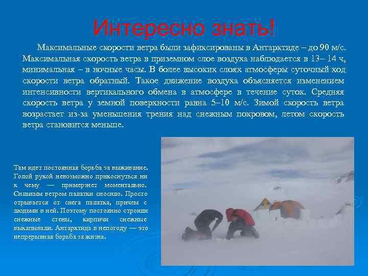Интересно знать! Максимальные скорости ветра были зафиксированы в Антарктиде –
