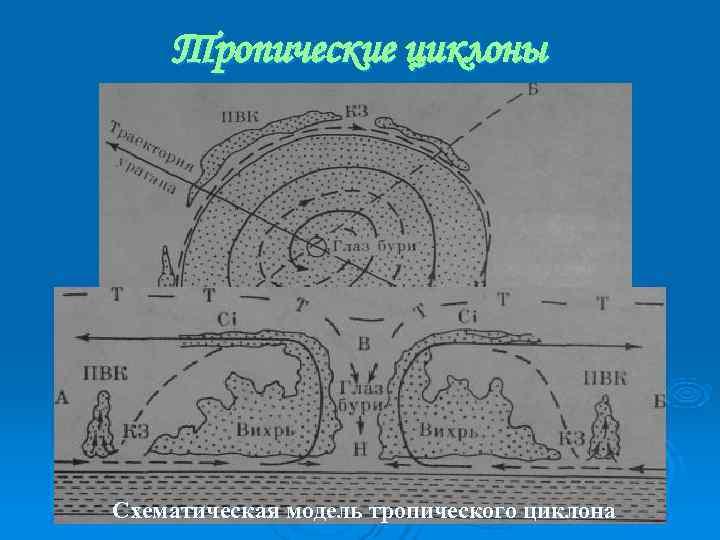 Тропические циклоны Схематическая модель тропического циклона