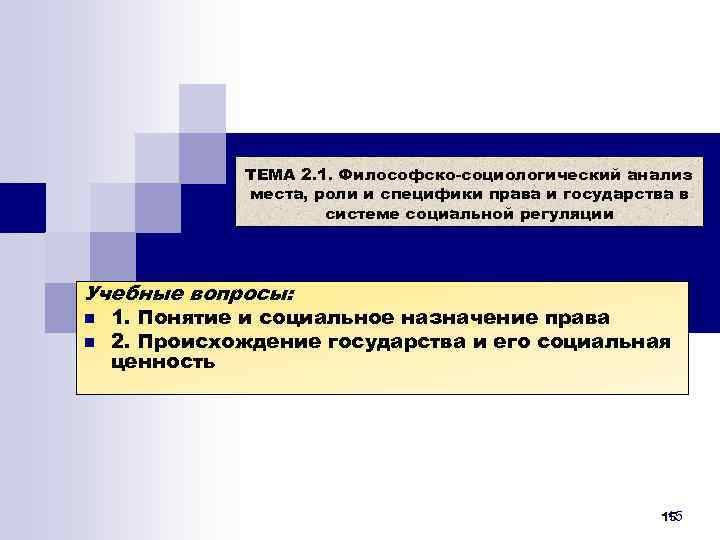ТЕМА 2. 1. Философско-социологический анализ    места, роли и