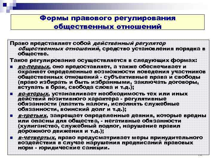 Формы правового регулирования  общественных отношений Право представляет собой действенный регулятор