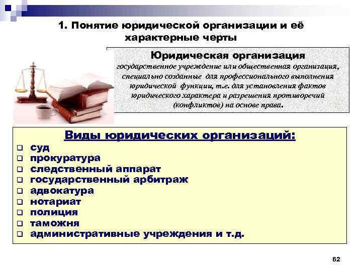 1. Понятие юридической организации и её    характерные черты