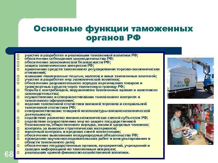 Основные функции таможенных    органов РФ q  участие