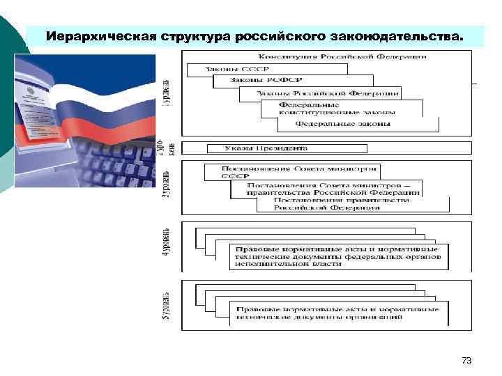 Иерархическая структура российского законодательства.      73
