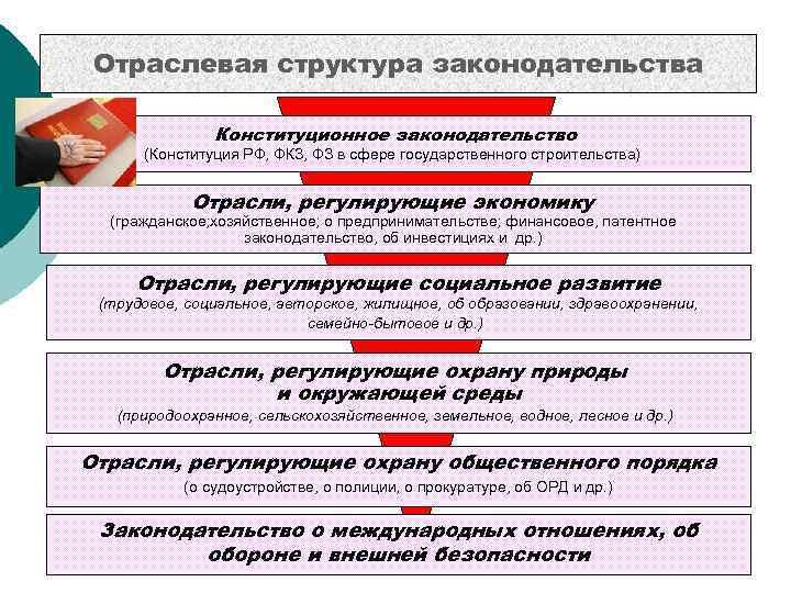 Отраслевая структура законодательства   Конституционное законодательство  (Конституция РФ, ФКЗ, ФЗ в сфере