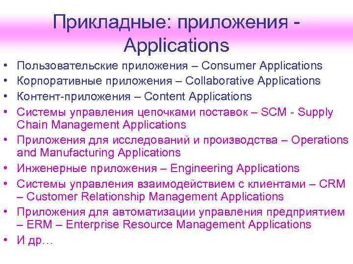 Прикладные: приложения -    Applications •  Пользовательские приложения
