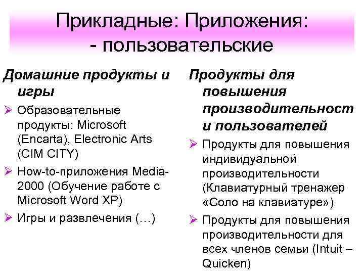 Прикладные: Приложения:   - пользовательские Домашние продукты и  Продукты для
